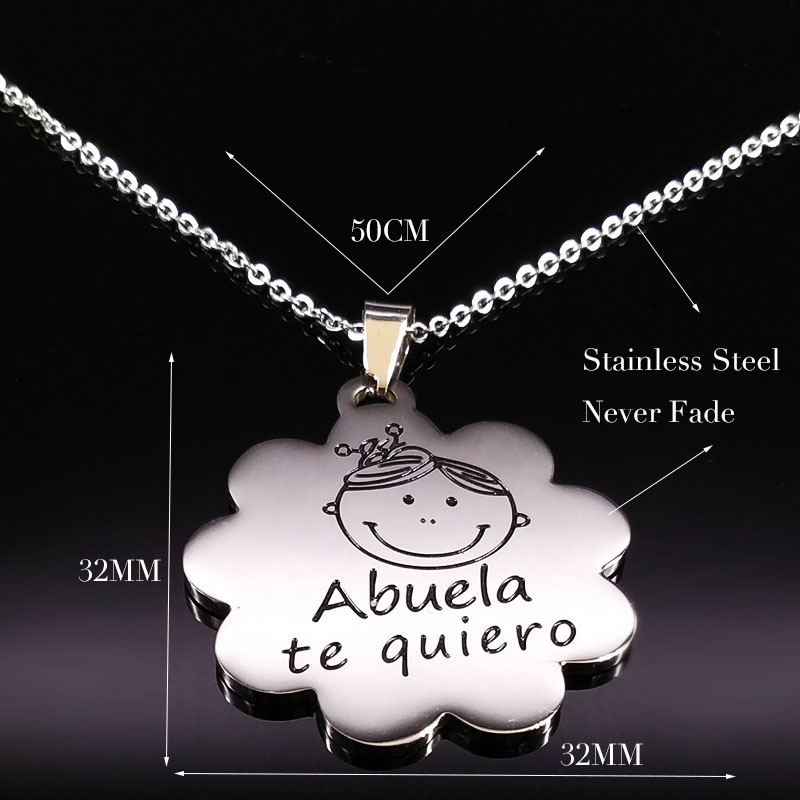 Fahsion Abuela te quiero Stainless Steel Necklace Women Black Enamel Silver Color Chain Necklace Jewelry collar mujer N18131 in Pendant Necklaces from Jewelry Accessories