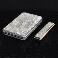 Shiny Crystal Diamond Ms 20 Cigarette Case Charging Windproof Plasma Lighter Slim Metal Lightweight Cigarette Box Set Lover Gift Cigarette Accessories     -