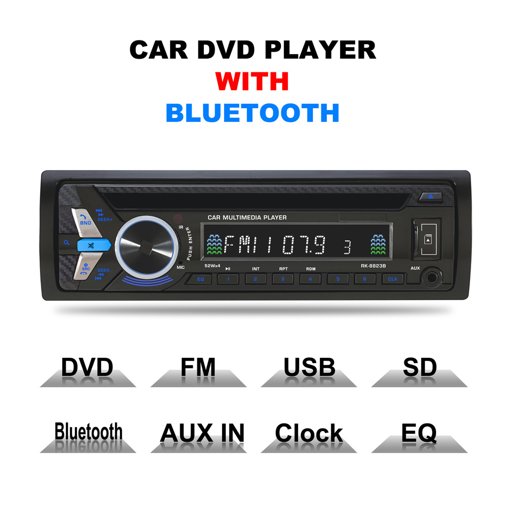 Bluetooth 1DIN Car DVD 12V FM Aux Input Car Stereo Radio Audio Player Receiver CD VCD WMA MP3 Player with SD/USB Port car dvd cd mp3 player 12v car audio stereo support usb sd mp3 player aux dvd vcd cd player with remote control 2018 new