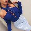 2016 New Winter Knitted Lace Up Bodysuit Women Off Shoulder Hollow Out Bodycon Jumpsuit Sexy Club Party Rompers Womens Jumpsuit