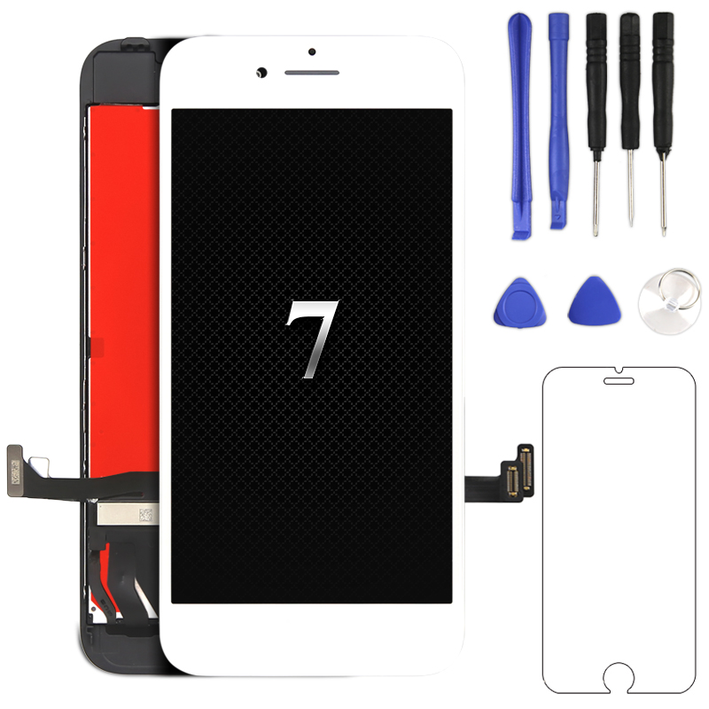1pc No Dead Pixel LCD For iPhone 7 LCD Display With 3D Touch Screen Digitizer Assembly with Camera holder earmesh frame Display