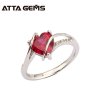 Ruby Sterling Silver Ring 2.25 Carats Silver Ruby Ring for Party Wedding And Engagement Women Fashion Ruby Silver Ring