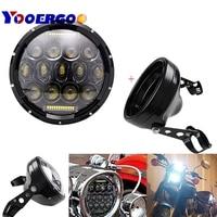 75W 7 inch Motorcycle Headlamps Chrome Housing Headlight Light Bulb Bucket For y Yamaha Honda Suzuki 7 Headlamp Brackets