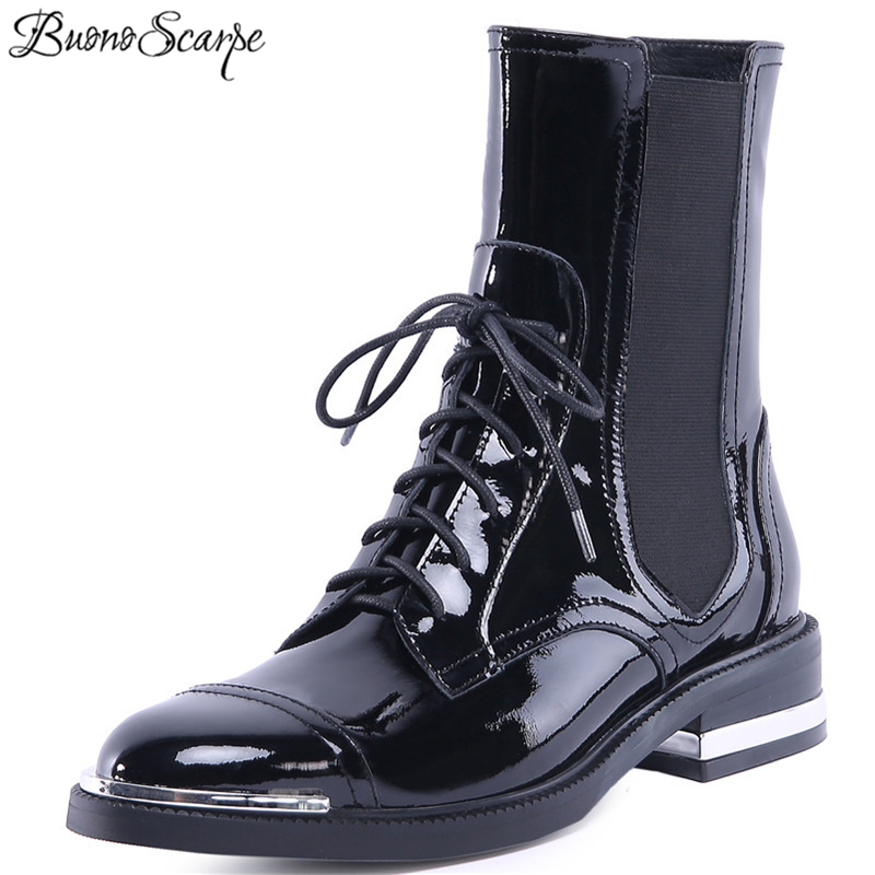 Buono Scarpe Fashion Women Ankle Boots Warm Genuine Leather High Heels Shoes Woman Round Toe Cross