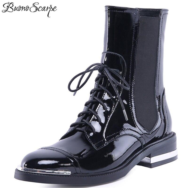 Buono Scarpe Mode Frauen Knöchel Stiefel Warme Echtes Leder High Heels Schuhe Frau Runde Kappe Kreuz gebunden Motorrad Stiefel schnürsenkel-in Knöchel-Boots aus Schuhe bei  Gruppe 1