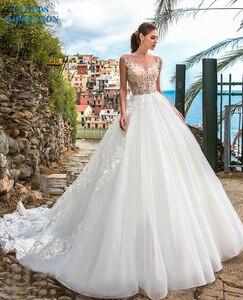Image 1 - Sexy A Line Wedding Dresses 2019 Appliques Vestido De Novia Gorgeous Beading White Bridal Gown Bride Dress