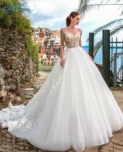 Sexy Line suknie ślubne 2019 aplikacje Vestido De Novia Gorgeous frezowanie biała suknia ślubna suknia dla panny młodej