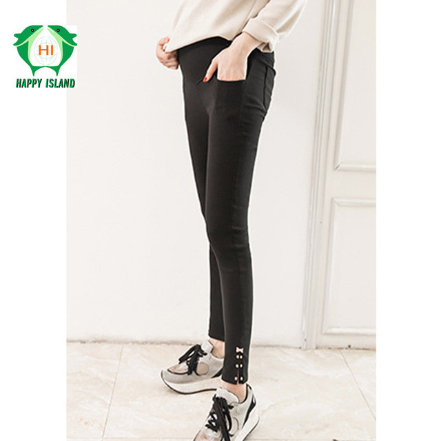 e12b8461aa4fd Elastic Waist 100% Cotton Maternity Jeans Skinny Belly Pants For Pregnant  Women Black Maternity Leggings