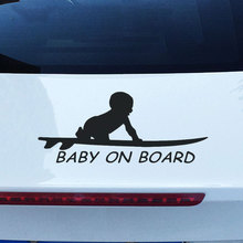 Baby On Board Surfboard Car Sticker Warning Signs Funny Reflective Vinyl Decals