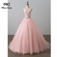 New 2018 Blush Pink Evening Dress Prom Dresses Long with Lace Crystals Scoop Formal Beaded Evening Dresses for women