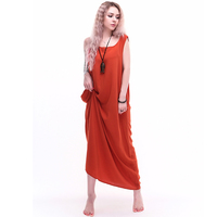 2017 Summer New Solid Dress Long Loose Sleeveless Dress Vintage Casual Simple Comfortable Wearing Both Fold