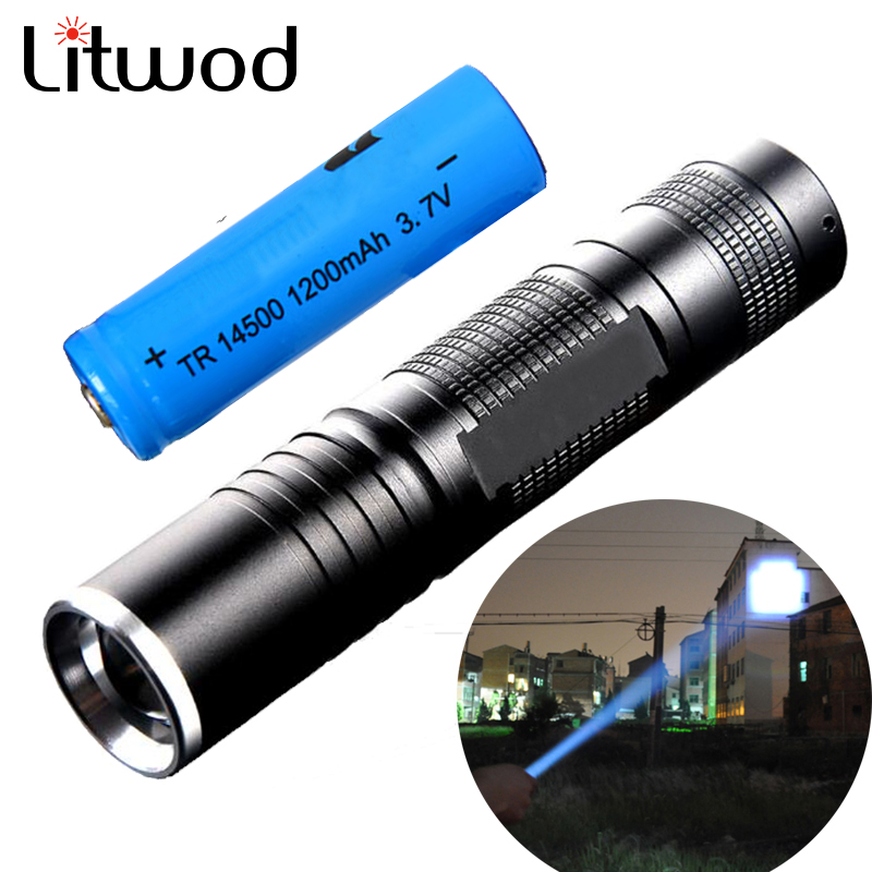 Litwod z30 LED Flashlight Torch 3 Modes Zoomable Adjustable Focus Waterproof Lantern Light With 14500 Battery Mini Penlight mini penlight 2000lm waterproof led flashlight torch 3 modes zoomable adjustable focus lantern portable light use aa 14500
