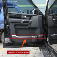 ABS Chrome Car Inner Door Panel Decorative Strips Cover Trim 4pcs For Land Rover Discovery 4 LR4 2010 2016 Auto Accessories