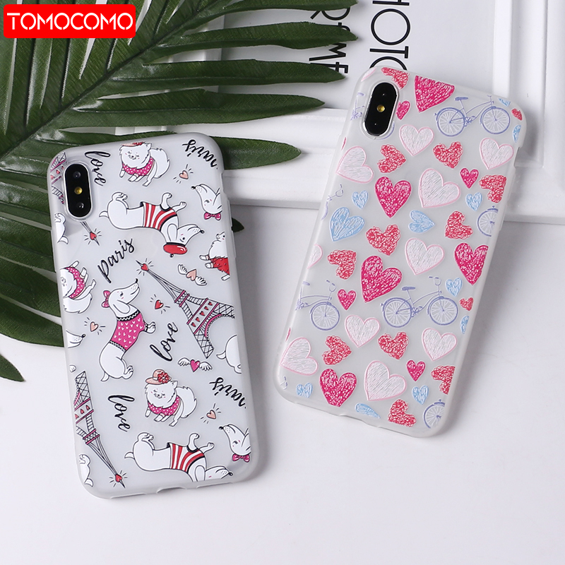 TOMOCOMO Cute Puppy Pug Grils Red lips Heart Soft Matte Phone Case Coque Funda For iPhone7Plus 6 6S 6Plus 8 8plus X