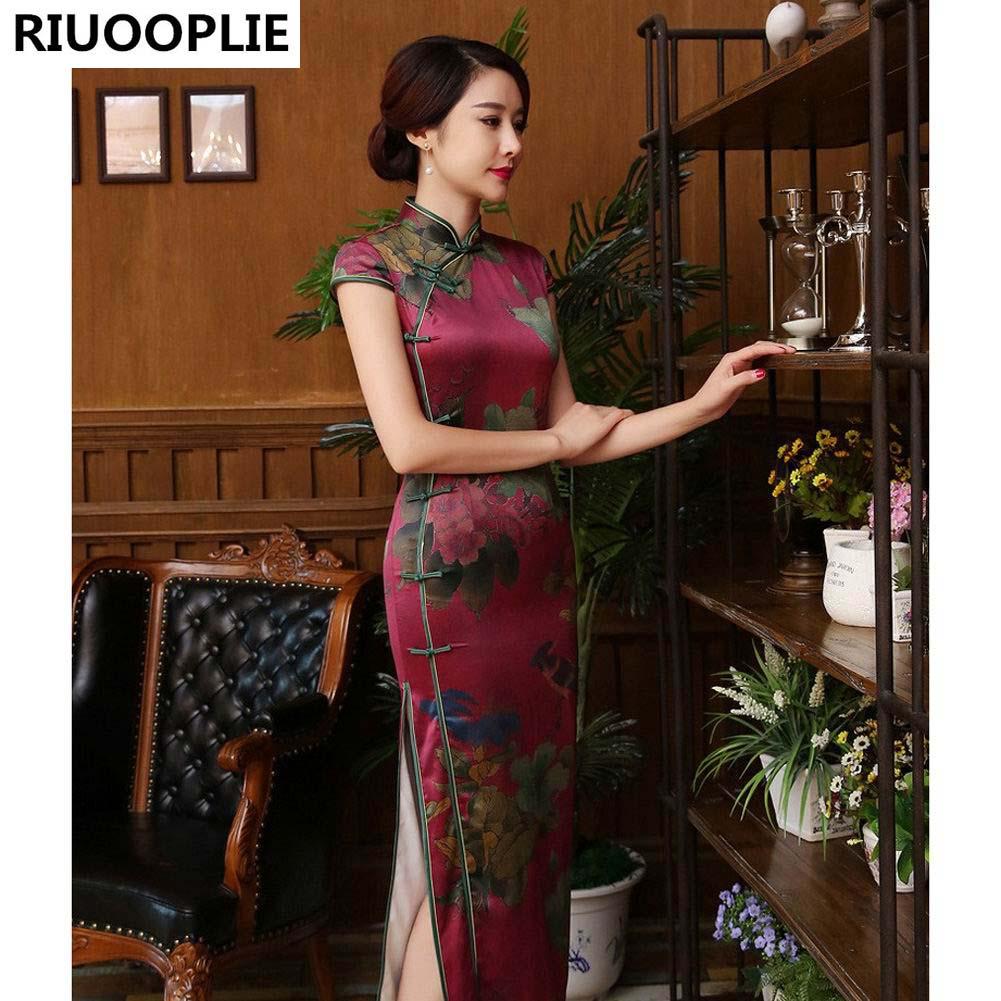 RIUOOPLIE اللباس التقليدي الصيني تصميم الأزياء فساتين السهرة الطويلة شيونغسام