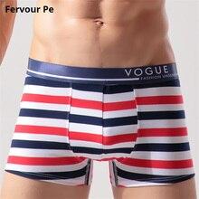 Fervour pe Mens Boxer Pure cotton sexy Letter navy stripe men panties Shorts Plus Size Underwear B19033