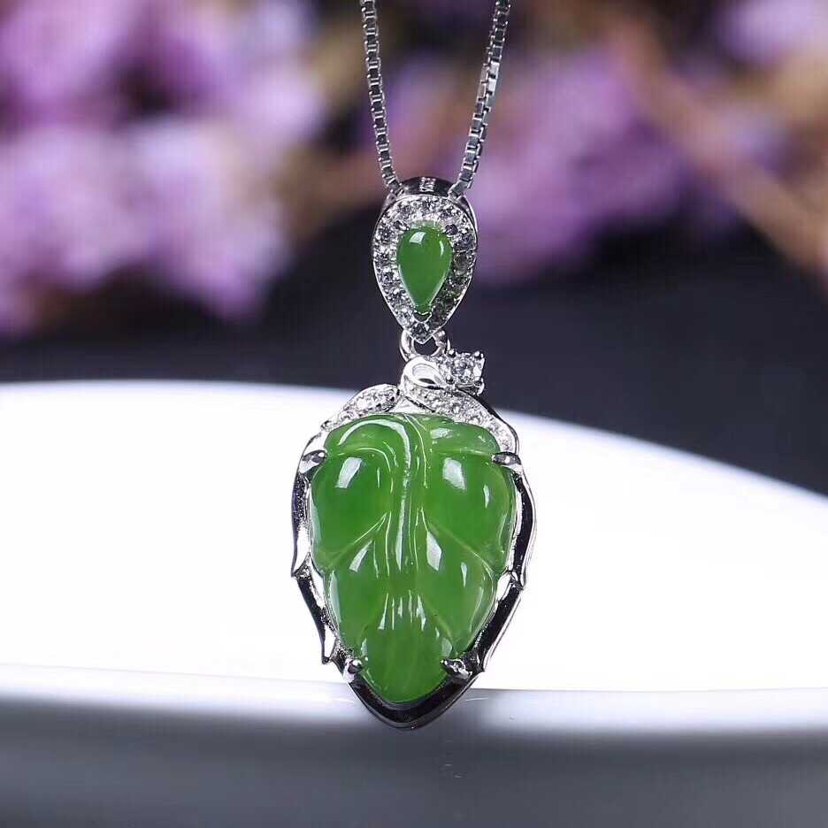 ฟรีใบรับรองใหม่ผู้หญิงหยกสีเขียวธรรมชาติแท้ 925 Silver11 * 16 มม. จี้ผู้หญิงเครื่องประดับของขวัญ