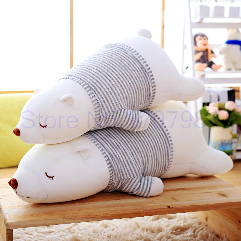 45-75CM Large Size White Bear Plush Toys Nanoparticle New Style Lying On Front Big Polar Pear Cloth Doll Children Gift