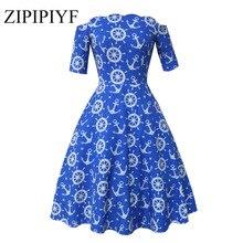 Zipipiyf Ретро Платья-пачка Хепберн 50 s 60 s рокабилли халат принт женские от плеча Fit And Flare Floral платье с средним рукавом