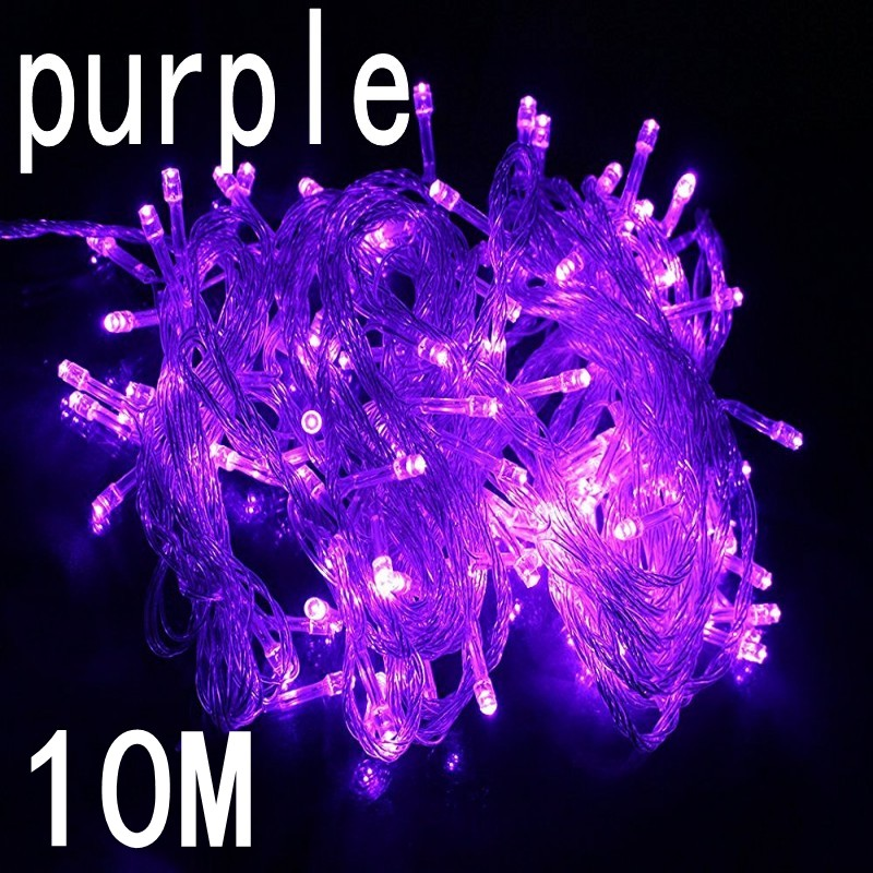 Purple colour 10M Waterproof 220V 100 LED holiday String light for Christmas Festival Party Fairy Colorful Xmas LED String Light