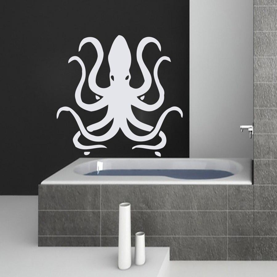 online get cheap wall art stickers tentacles aliexpress com white octopus tentacles wall decals bathroom waterproof removable vinyl art sticker home decor china