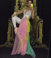 Colorful Rhinestones Bodysuit Leggings Costume Female Singer Stage Wear Mash Skirt Dance WEAR Party Stretch Jumpsuit