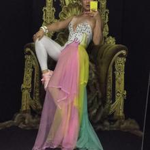 Colorful Rhinestones Bodysuit Leggings Costume Female Singer Stage Wear