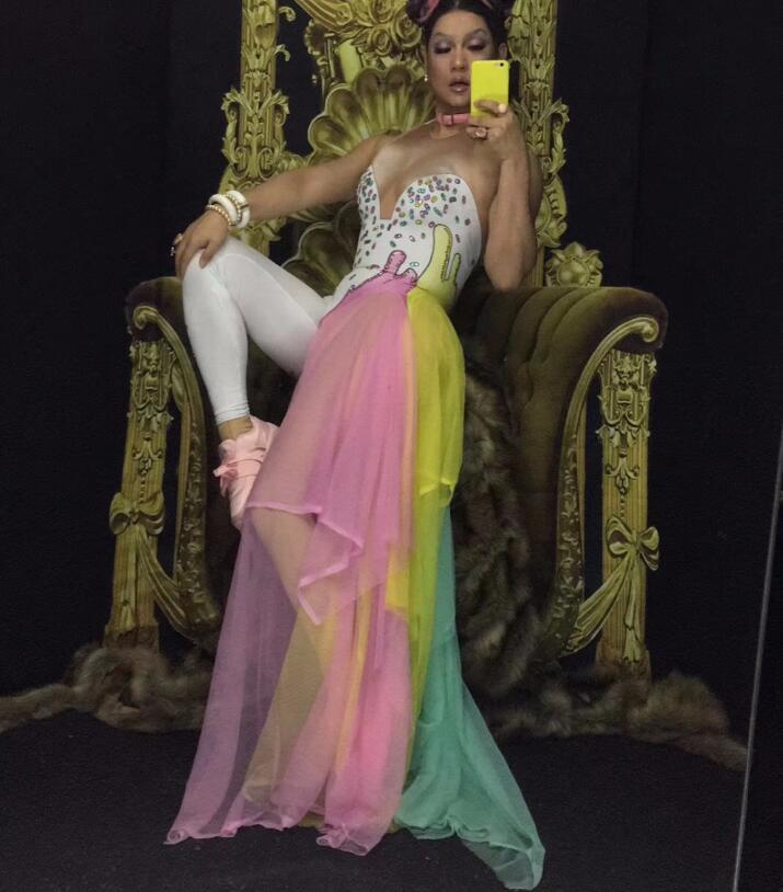Strass coloridos Leggings Bodysuit Cantora Traje Desgaste Estágio Mash Saia DESGASTE da Dança Do Partido Estiramento Jumpsuit Outfit