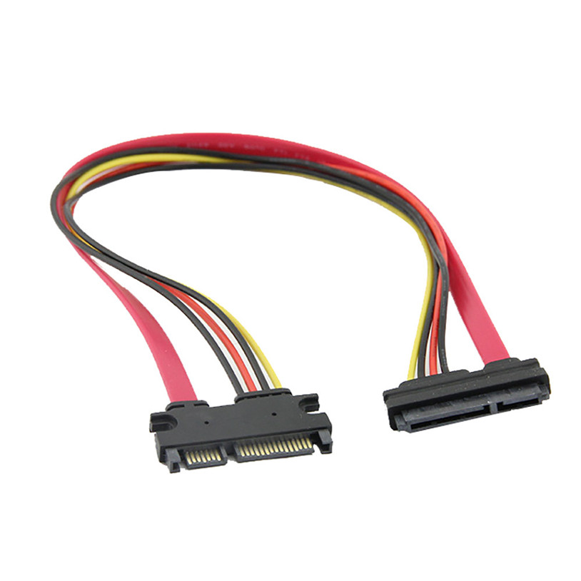 mosunx 50 <font><b>cm</b></font> 22P 7+15Pin M/F Serial ATA <font><b>SATA</b></font> Data Power Combo Extension <font><b>Cable</b></font> Gift Mar 28 Drop Ship image