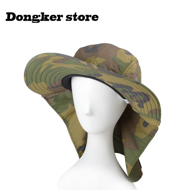 Outdoor Men Camouflage Hiking Fishing Bucket Hats Various Activities  Military Adjustable Boonie Hat Sunscreen Breathable 1cee2508543