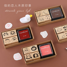 цена на TUNACOCO Cute Stamp Set Seal Sighnet with Inkpad Animal Wooden Stamp Bullet Journal DIY Crafts Qt1710133