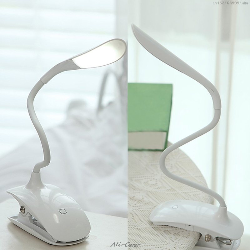 Desk Lamp Dimmable USB Rechargeable Touch Sensor LED Clip-On Table Reading Light Desk Lamp