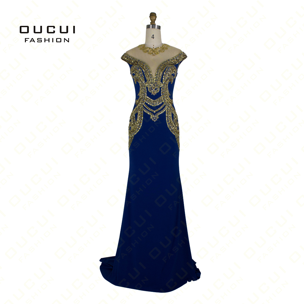 Real Photos Long Elegant Prom   Dresses   Jersey Fabric Beading Hand Make Long   Evening     Dress   Party OL102775