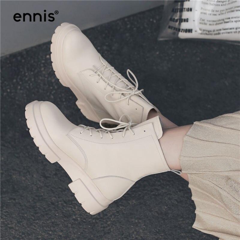 ENNIS 2019 Martin buty zimowe damskie buty do kostki ze skóry naturalnej platformy obcas sznurowane buty płaskie zimowe buty czarny beżowy A8196 w Buty do kostki od Buty na  Grupa 2