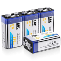 EBL New 4PCS high volume 9V 280mAh Rechargeable battery nimh Batteries for smoke alarms high capacity rechargeable battery Rechargeable Batteries