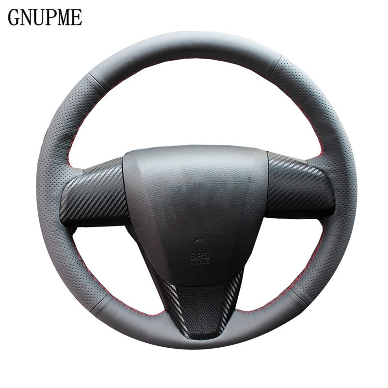 Black Genuine Leather Car Steering Wheel Cover For Old Mazda 3 Mazda 5 Mazda 6 2003-2015 Special Hand-stitched Steering Covers