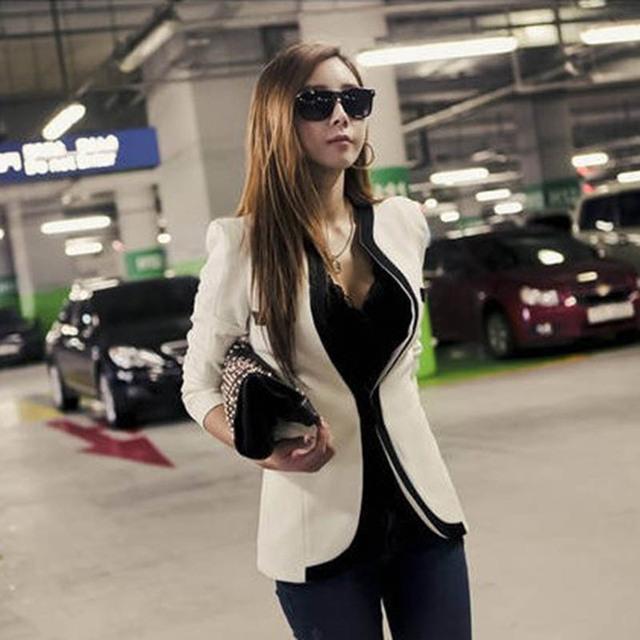 Fashion Women's Slim Jacket Suit 2017 Autumn Casual Winter Jacket Women Slim V-Neck Single Button Outerwear Suit Women Coat B93