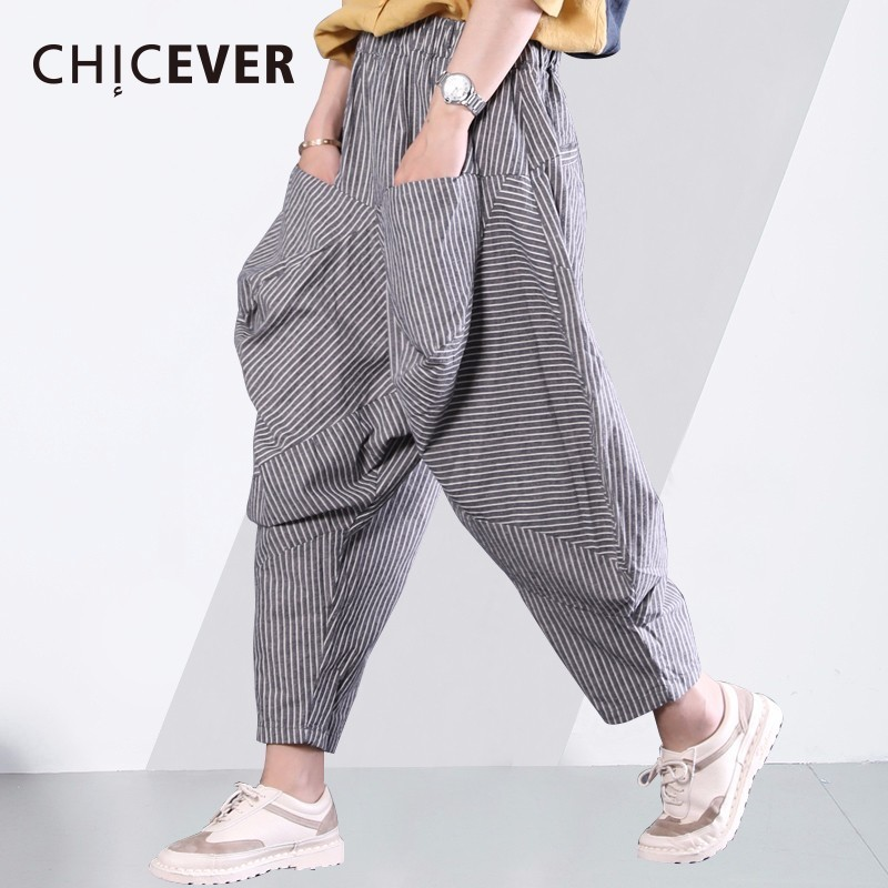 CHICEVER Striped Women's Trousers Two Big Pockets High Elastic Waist 2018 Summer Loose Harem Pants Casual Clothes Fashion New