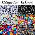 500pcs 8x8mm Alphabet Cube Pony Beads/Acrylic Cube Pony Craft Beads/Letter Craft Bead/DIY Craft Bead For Diy Craft Making