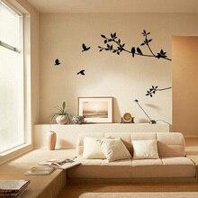 2018 Tree Branch Bird Black Art wall sticker Removable Vinyl Decal bedroom decor accessories wall stickers for kids rooms стоимость