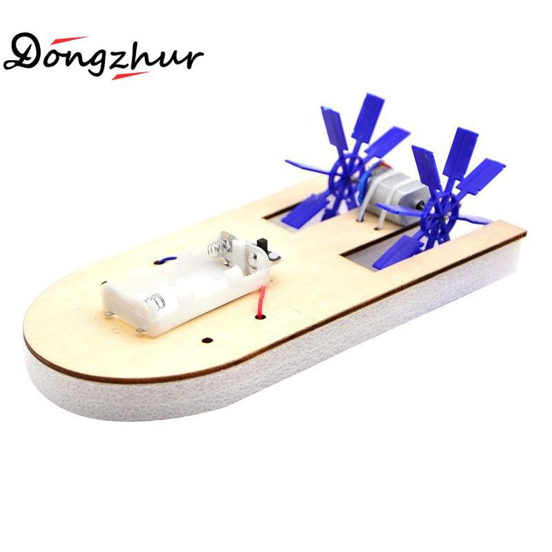 Scull Electric Paddle Steamer Model Handmade Children Assembled Toys Science Education Model Wood Assembling 3D Toys Ship Model