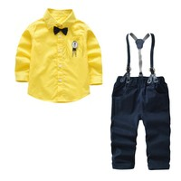 Children Boys Clothing Sets Spring Autumn Baby Long Sleeve Shirt+Bib Pants Kid Clothes Suits Formal Wedding Party Party Costume