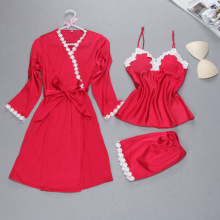 New Arrival Women's Robe Set Free Shipping Three Pieces Nightwear Set Lace Satin Female Sleepwear Home Suits Set High Quality