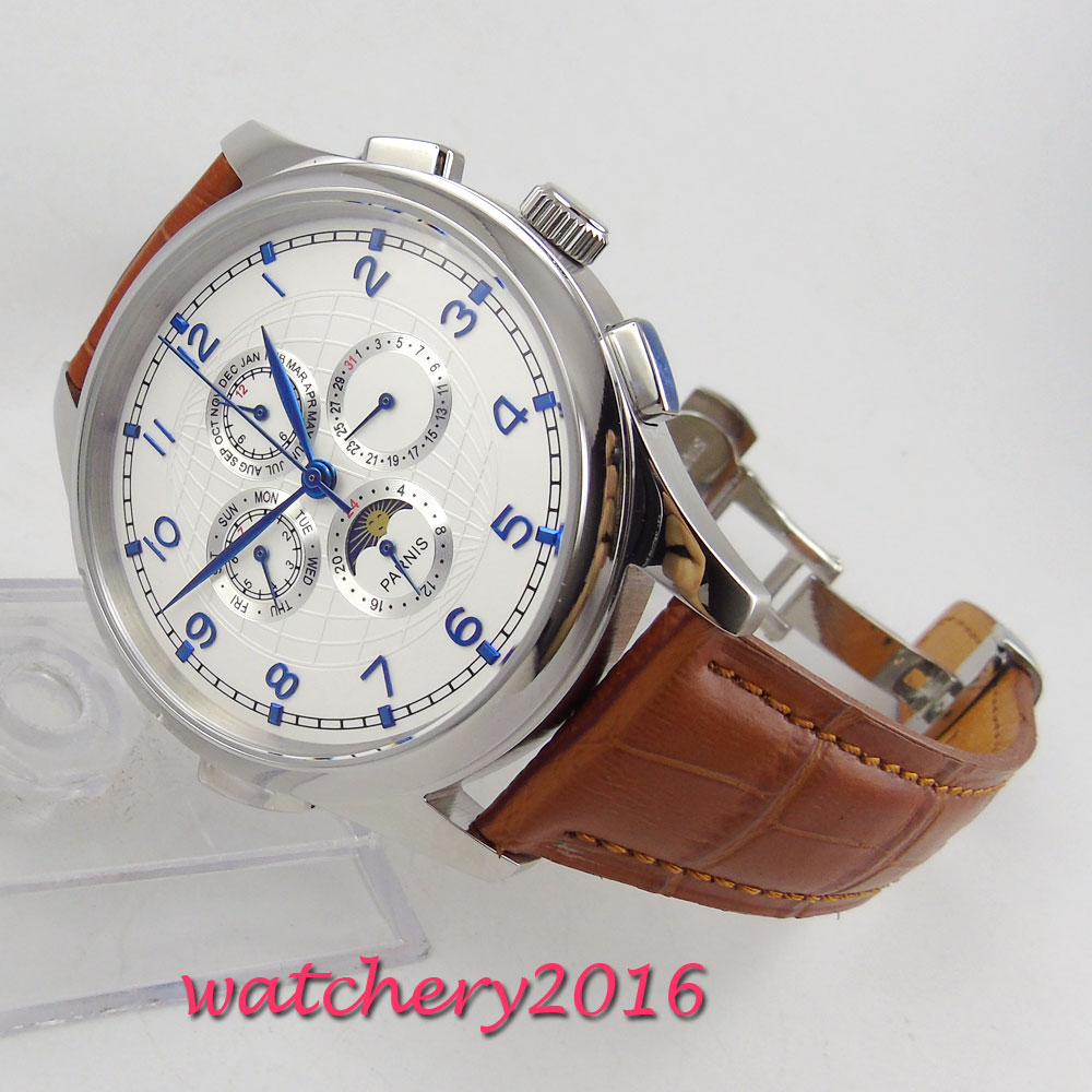44mm parnis White Dial Moon Phase Polished case Complete Calendar Brown Leather strap Blue Marks Automatic Mechancial Mens Watch