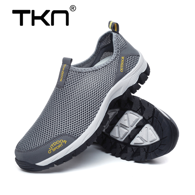 TKN 2019 Summer Men's Outdoor Hiking Shoes Air Mesh Breathable Quick Drying Slip-On Outdoor Sneakers Man Trekking Trail 1812