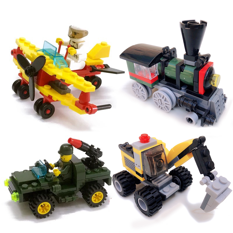 4 Kinds Original Mini Transportation DIY Block Car Building Compatible Legoing Duplo City Soliders Police Bricks Figure Toys