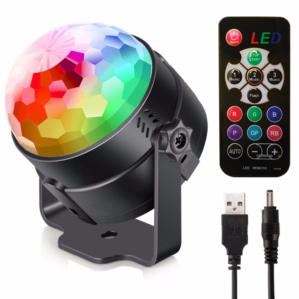 LED Stage Light USB Rechargeable Crystal Magic Ball Mini RGB Stage Lighting Effect Lamp Party Disco Club DJ Lumiere US/EU Plug mini rgb led crystal magic ball stage effect lighting lamp bulb party disco club dj light show lumiere