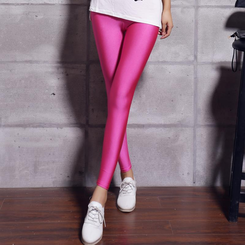 Women Solid Color Fluorescent Shiny Pant Leggings Spandex Shinny Elasticity Casual Trousers 35