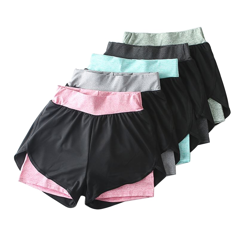 Women Anti-Emptied Fake 2PCS   Shorts   Quick Drying Elastic High Waist Casual   Shorts   Fitness Female   Short   Pants