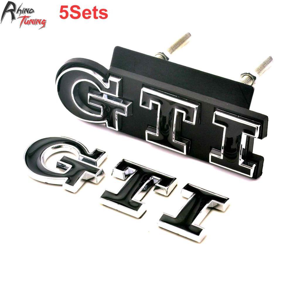 Rhino Tuning 5PCS GTI Auto Front Grill Grille Body Rear Badge Fit Golf Polo MK3 MK5 MK6 Trunk ABS Black Car Emblem 028 front grille led emblem logo light 4 colors abs decorative grill lamp for f ord r anger t7 2016 2017 car styling